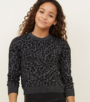 Girls Light Grey Glitter Leopard Print Jumper