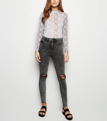 Black Acid Wash Super Skinny Hallie Jeans