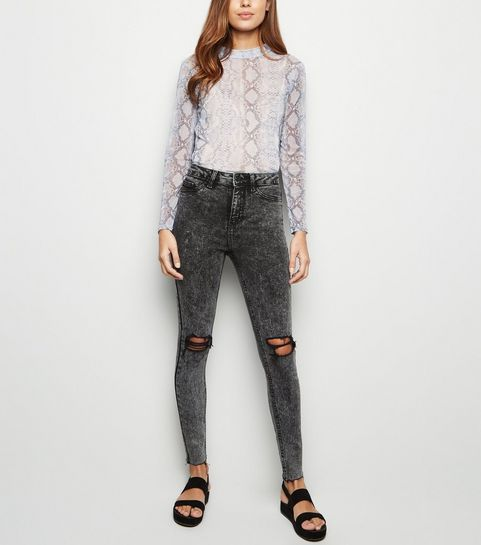 fc79371625fc7 ... Black High Waist Super Skinny Ripped Halllie Jeans ...