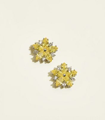 Yellow Cubic Zirconia Flower Stud Earrings