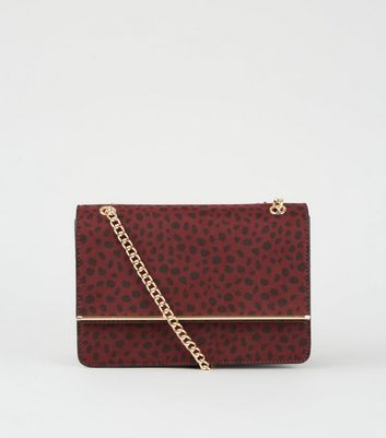 Red Cheetah Print Chain Shoulder Bag