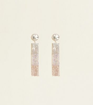 Rose Gold Diamanté Tassel Earrings