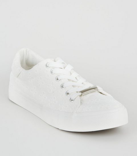 38fdd585a0ad ... White Floral Embroidered Lace Up Trainers ...