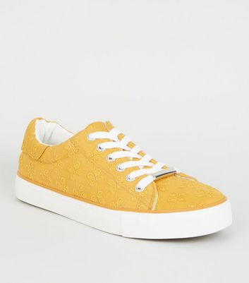 Mustard Floral Embroidered Lace Up Trainers