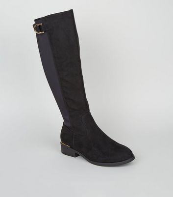 Wide Fit Black Suedette D-Ring Knee High Boots