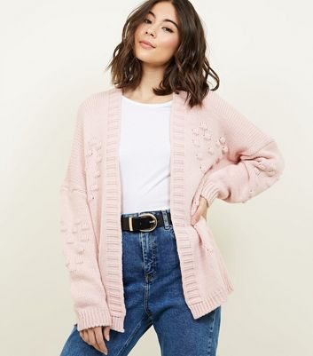 Cameo Rose Pink Heart Bobble Cardigan
