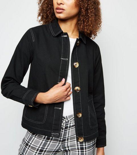 c24f5c0160f09 Black Contrast Stitch Utility Jacket · Black Contrast Stitch Utility Jacket  ...
