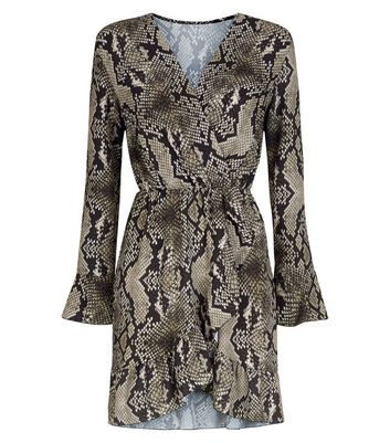 Cameo Rose Brown Snake Print Wrap Dress New Look