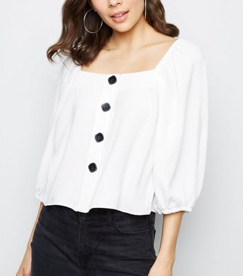 Off White Square Neck Button Front Blouse