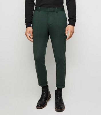 Dark Green Skinny Crop Trousers