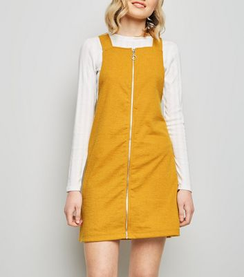 Yellow Ring Zip Cross Hatch Pinafore Dress