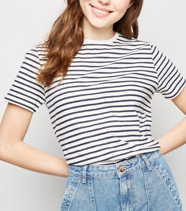 b8f9f2f0956c1 White Stripe Cotton T-Shirt Add to Saved Items Remove from Saved Items