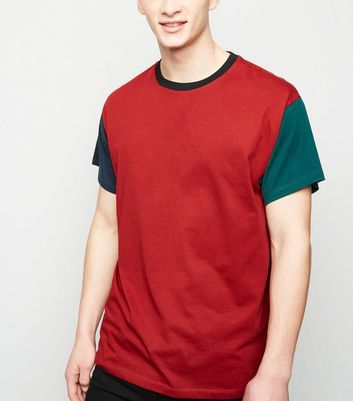 Dark Red Contrast Sleeve Ringer T-Shirt