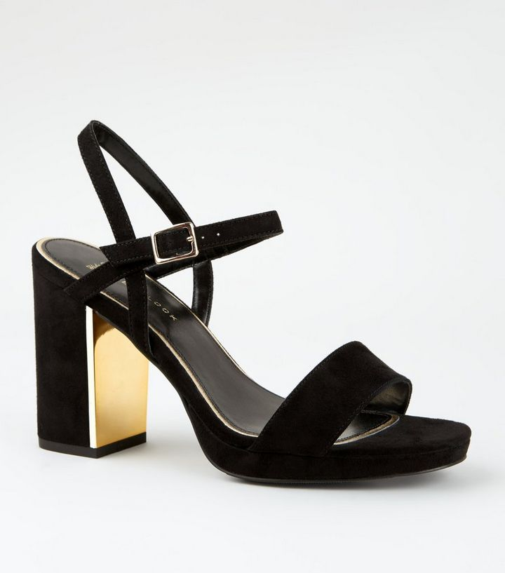 3d867867dc8a Wide Fit Black Metal Heel Platform Sandals