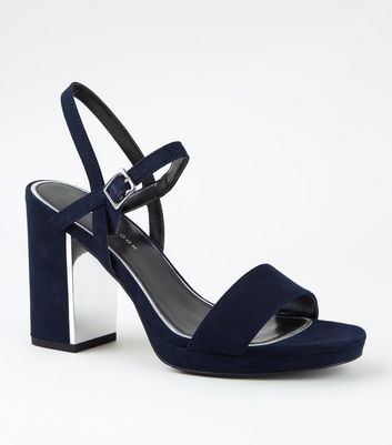 Wide Fit Navy Metal Heel Platform Sandals