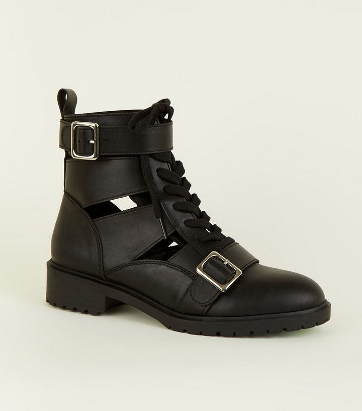 58c4cf02277a Black Cut Out Lace Up Biker Boots
