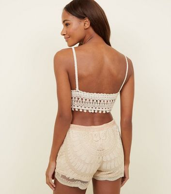 Cameo Rose Gold Metallic Crochet Shorts New Look