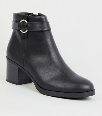 Black Comfort Ring Strap Ankle Boots