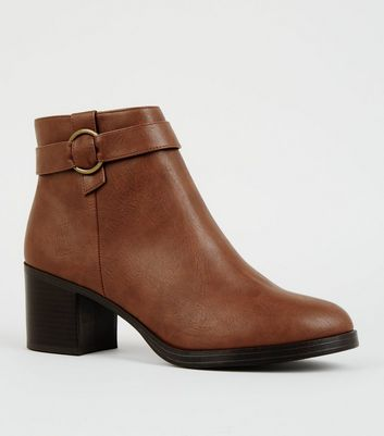Tan Comfort Ring Strap Ankle Boots