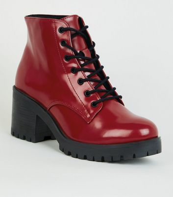 Dark Red Patent Chunky Lace-Up Boots