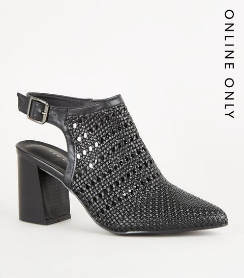 cbd3a1c508fe ... Black Leather-Look Woven Shoe Boots ...