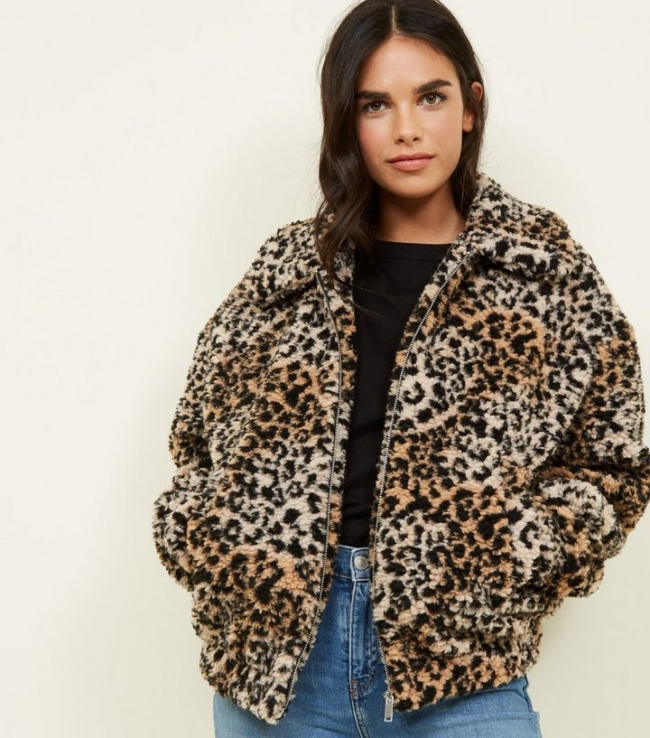 9b23ced7a4 Brown Leopard Print Teddy Bomber Jacket