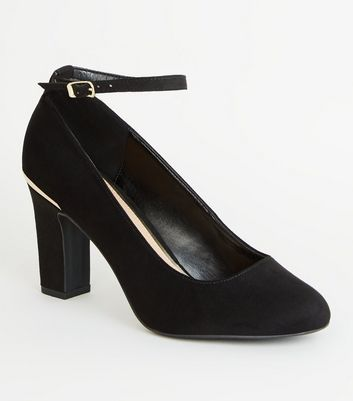 Black Suedette Ankle Strap Block Heel Courts