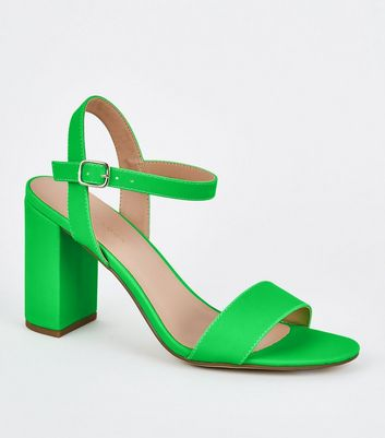 Green Patent Two Part Block Heels