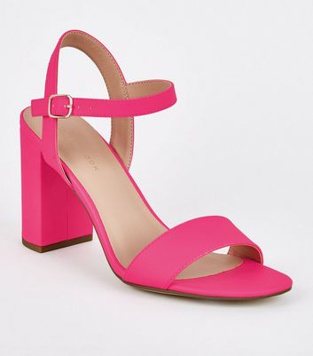 Bright Pink Patent Two Part Block Heels