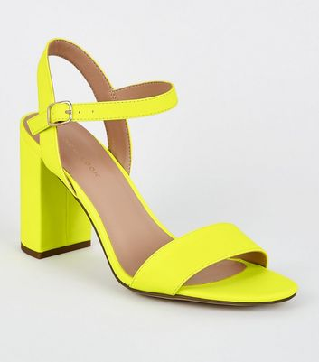 Yellow Patent Two Part Block Heels