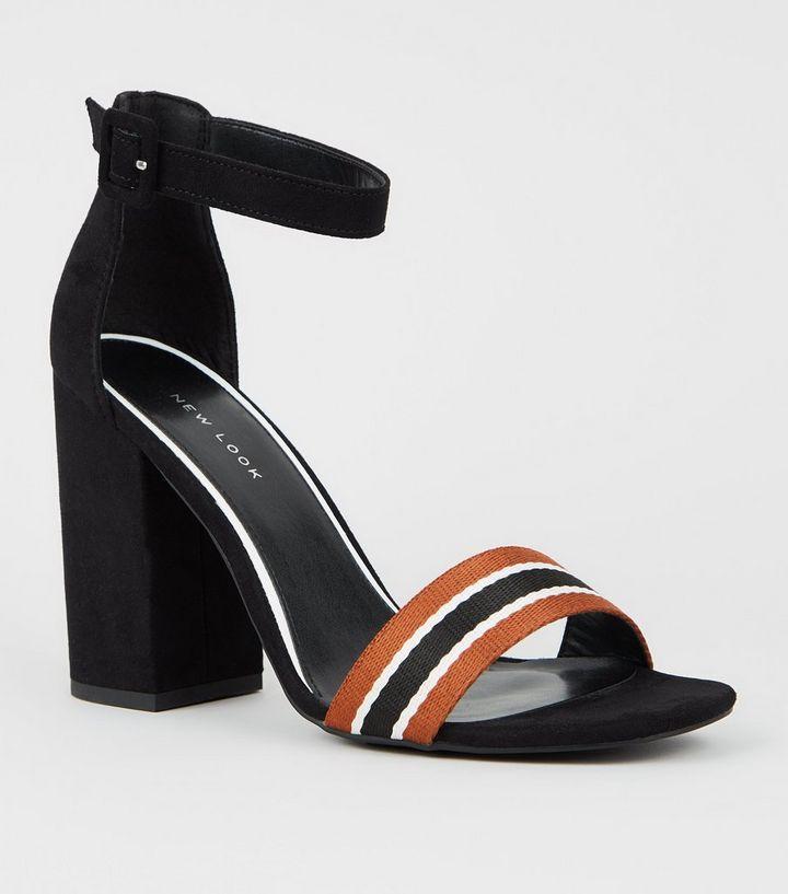 3ee249459a3 Black Stripe Strap Block Heel Sandals