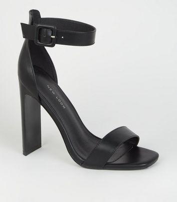 Black Leather-Look Slim Block Heel