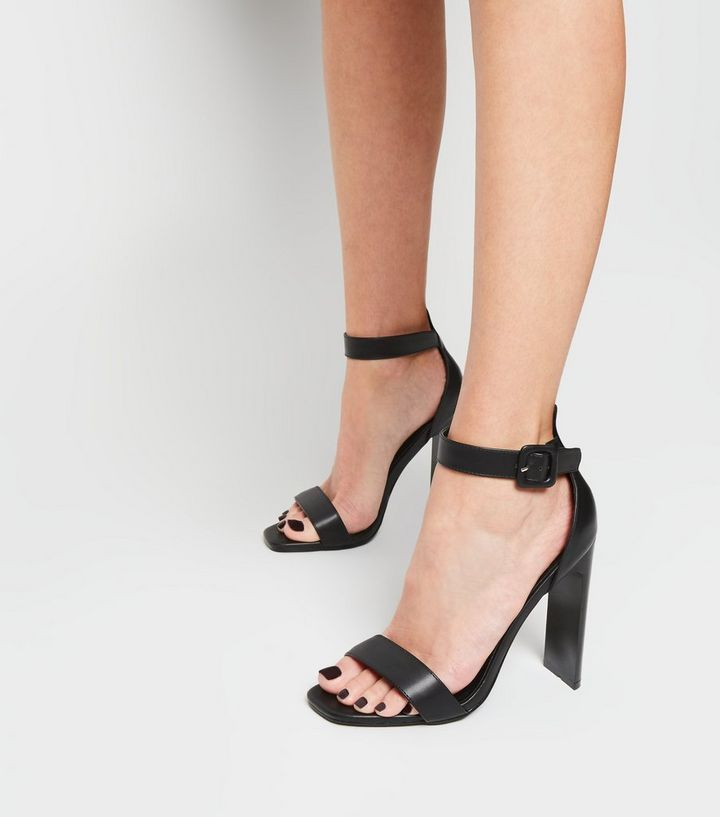 d8e11de1817 ... Black Leather-Look Slim Block Heel Sandals. ×. ×. ×. Shop the look