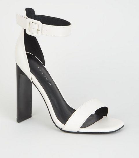 c73425064 ... White Leather-Look Slim Block Heel Sandals ...