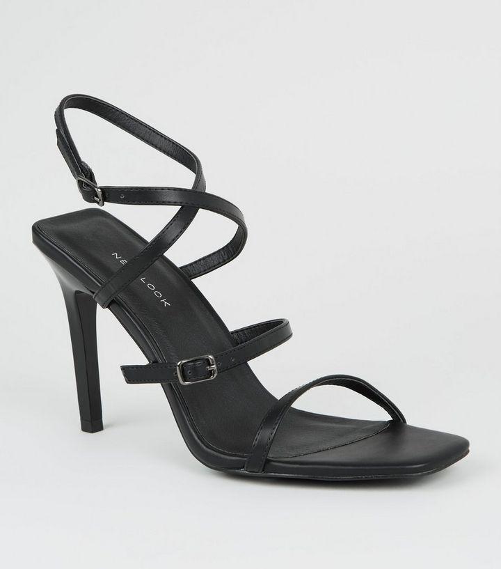 Schwarze High Heels mit Riemchen und eckigem Stiletto-Absatz   New Look 87b9f24b2f