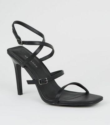 Black Strappy Square Stiletto Heels