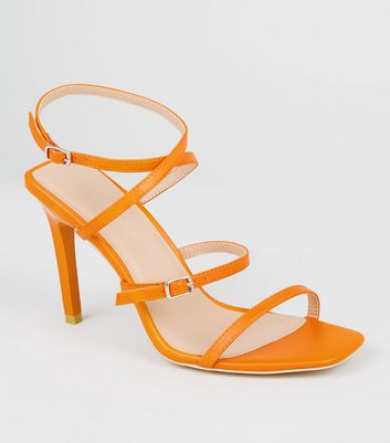 Orange Strappy Square Stiletto Heels