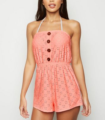 Combishort bandeau corail en broderie anglaise