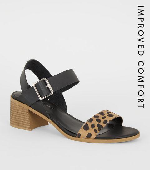 00f39ee57bf6 ... Brown Animal Print Strap Low Heel Sandals ...