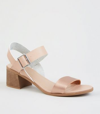 Nude Leather Look Wood Effect Block Heel Sandals