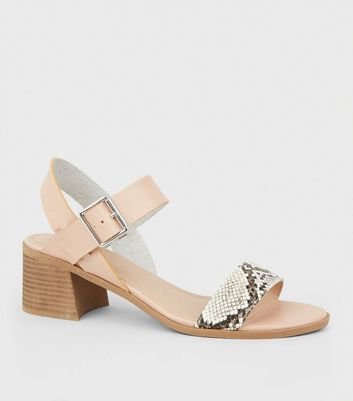 Stone Leather-Look Low Block Heel Sandals