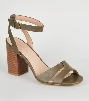 Khaki Leather-Look Mid Block Heels