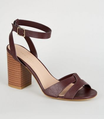 Dark Red Leather-Look Wood Block Heels