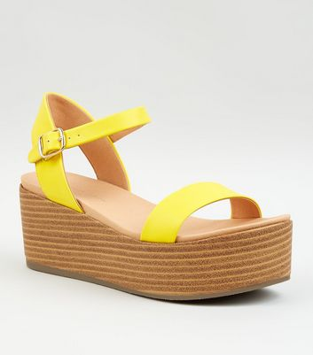 Yellow Leather-Look Flatform Footbed Sandals