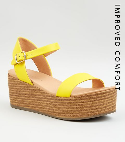 5038b309415b3d ... Yellow Leather-Look Flatform Footbed Sandals ...