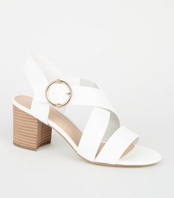 White Leather-Look Cross Strap Block Heels