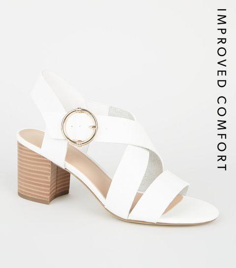 88fe500bf3c9 ... White Leather-Look Cross Strap Block Heels ...