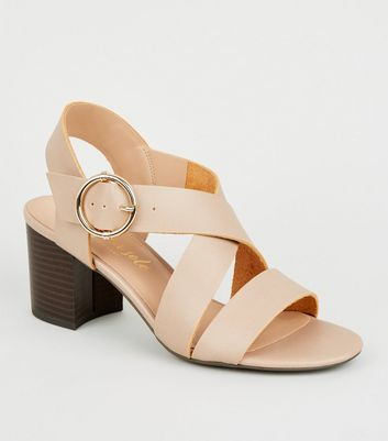 Nude Leather-Look Cross Strap Block Heels