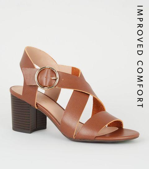 08a1b592ce4 ... Tan Leather-Look Cross Strap Block Heels ...
