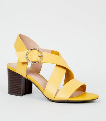 Yellow Leather-Look Cross Strap Block Heels
